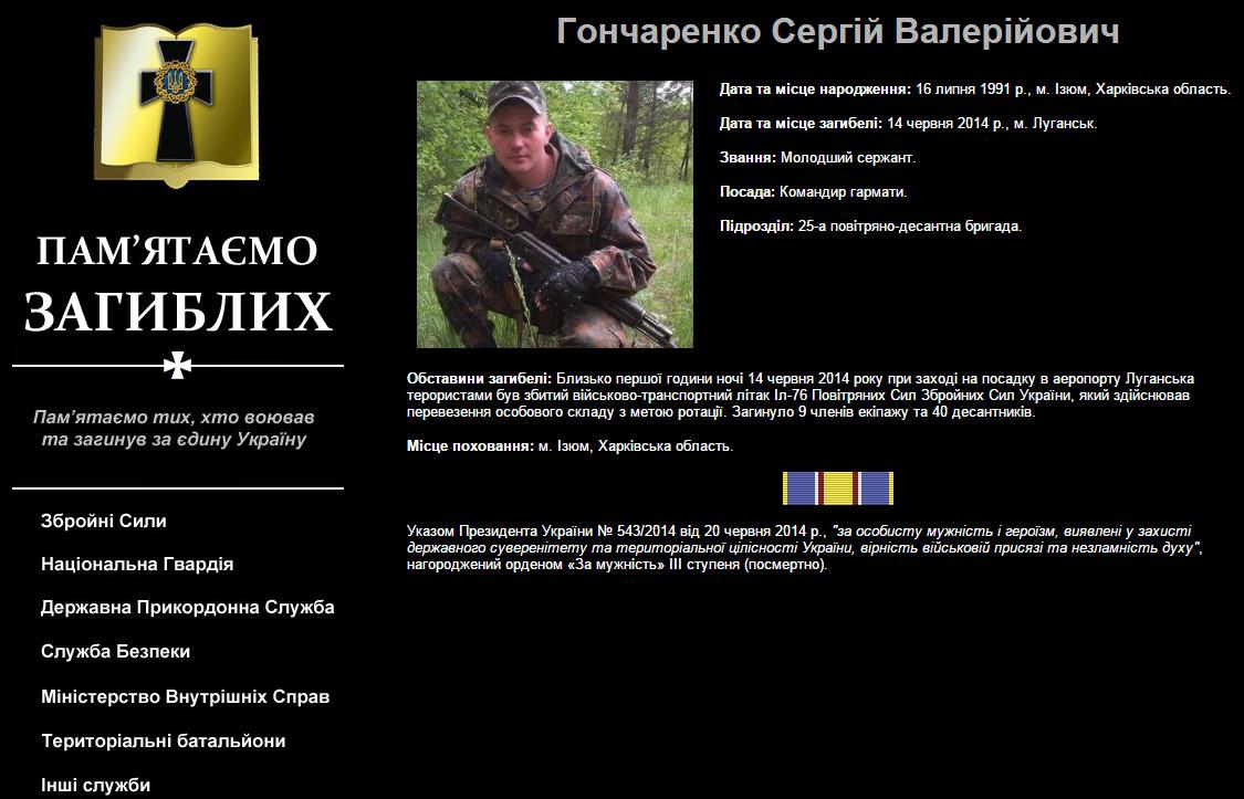 Изюмчанин Гончаренко Сергей Валерьевич