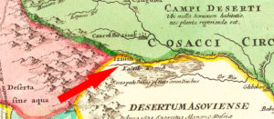 Изюм на немецкой карте Украины 1720 года