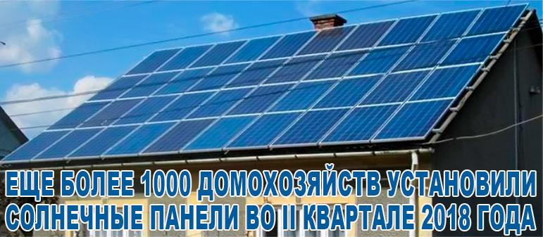 Еще более 1000 домохозяйств установили солнечные панели во II квартале 2018 года