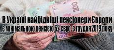 В Украине подняли минимальную пенсию с 59,1 до 61,9 EUR